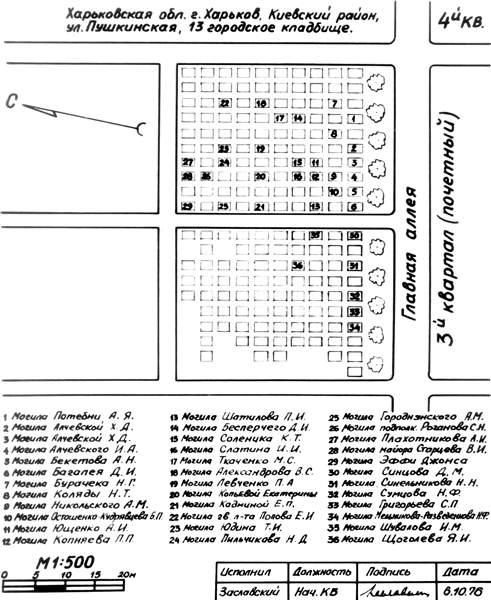 Схематичний план розташування могили