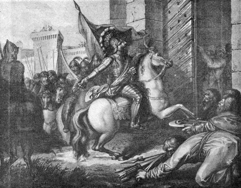 Польський король Болеслав Хоробрий рубає шаблею Золоті ворота