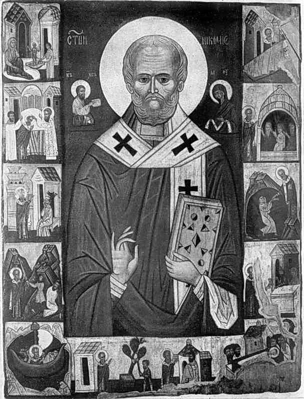 Св.Микола з житієм. Ікона кін. 15 ст.