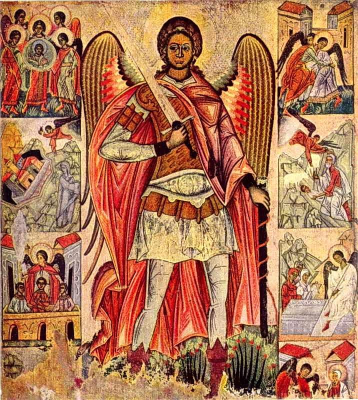 Архангел Михаїл з діяннями. Ікона сер. 16 ст.
