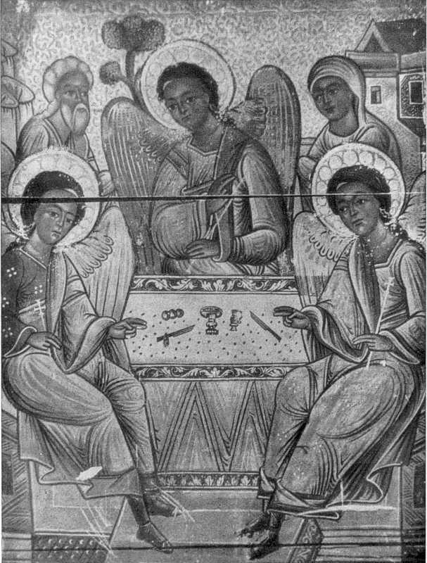 Трійця. Фрагмент іконц кінця XVI ст. із Троїцької церкви Потелича