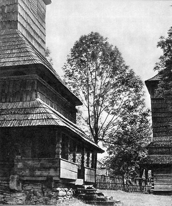 [1970 р.] Бабинець церкви і дзвіниця. Вигляд з позиції С4