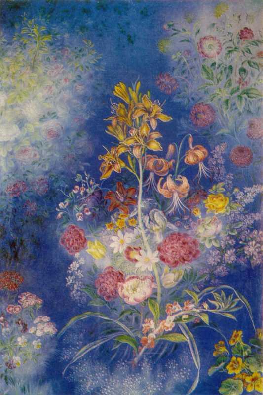 Білокур К.В. Квіти на блакитному тлі
