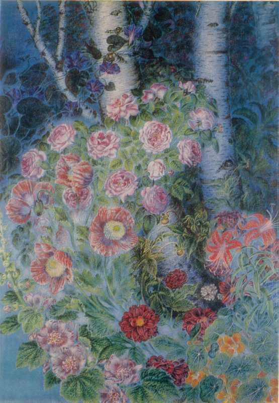 Білокур К.В. Квітки і берізоньки ввечері