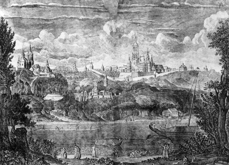 Кін. 18 ст. Краєвид Києво-Печерської лаври з-за Дніпра