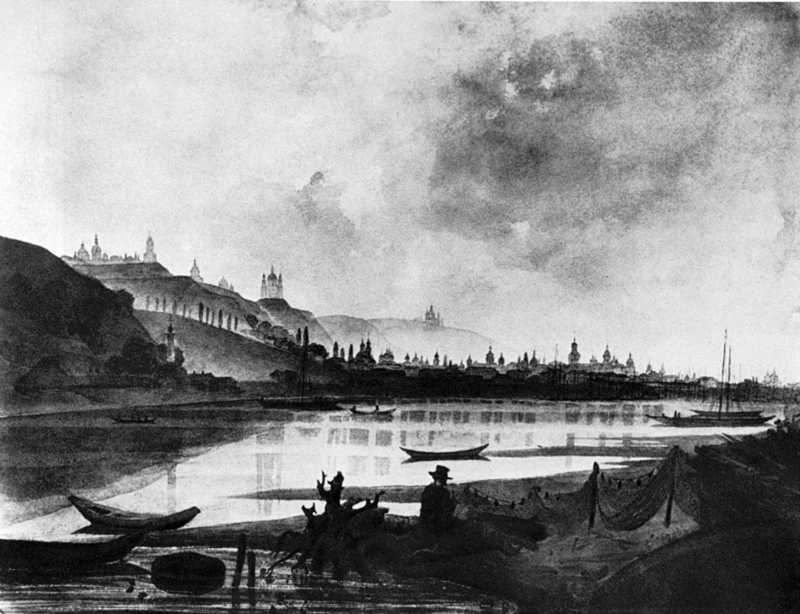 1853 р. Краєвид Подолу з-за Дніпра