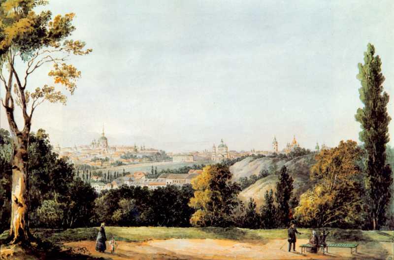 1843 р. Краєвид Старого Києва з Царського саду