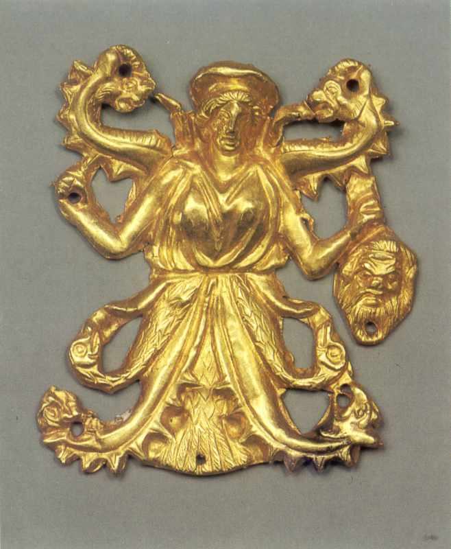 Пластина: змієнога крилата богиня