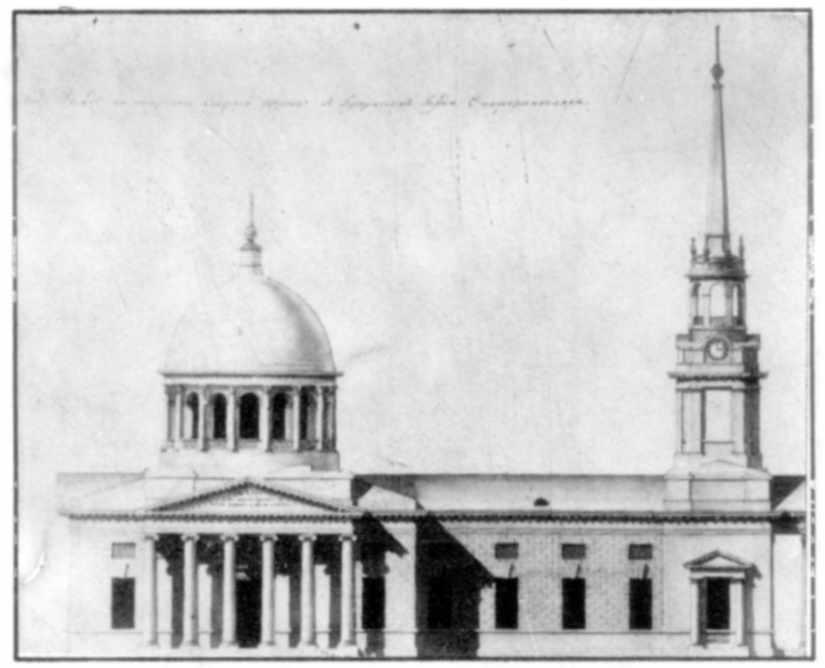 Боковий фасади собору за креслениками…