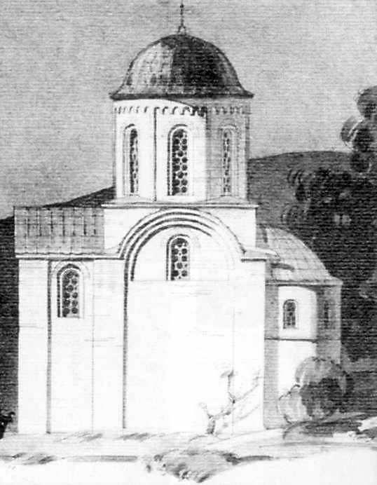 Південний фасад. Реконструкція станом на 12 ст. (за Г.Логвином)