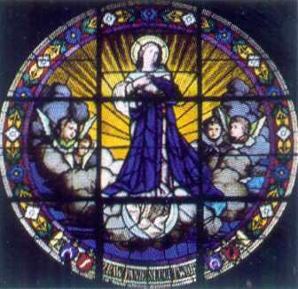 1889-1890 pp., Ю.Захарієвич Вікно на хорах костелу францисканок Свинцеве обрамлення, моліроване скло, протрави, гризайль, шварцлота Понизу напис:…