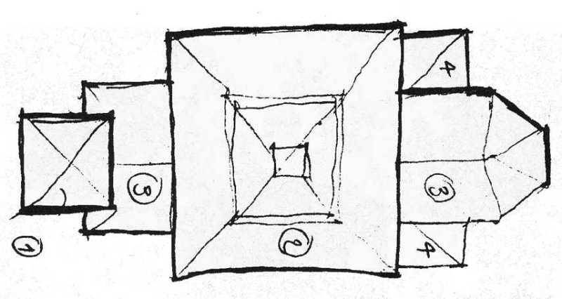 Схематичний план церкви. Рисунок 1954 р. Я. Фразіка і Я. Ковальчика.