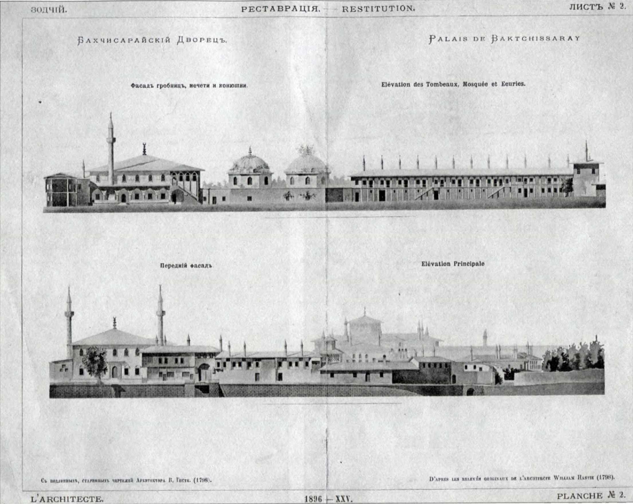 1798 р. Фасади. Проект реставрації