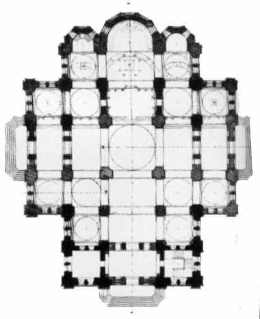 1853 г. Первоначальный проект Владимирского собора, архит. И. В. Штром. План