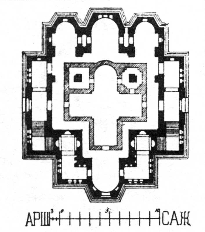 План собору на рівні нижньої церкви. Проект Д.Ґрімма