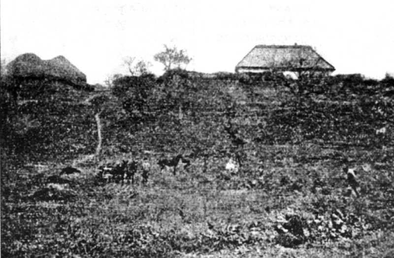 """Оселя Хмельницького (тепер попівство) з другого боку (внизу під ним """"Малий Льох"""")"""