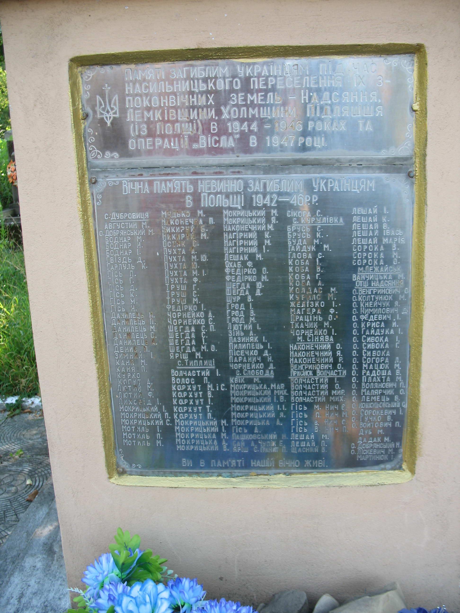 Таблиця з іменами загиблих