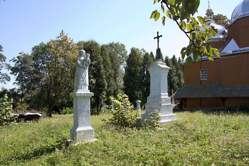 Надгробки біля церкви
