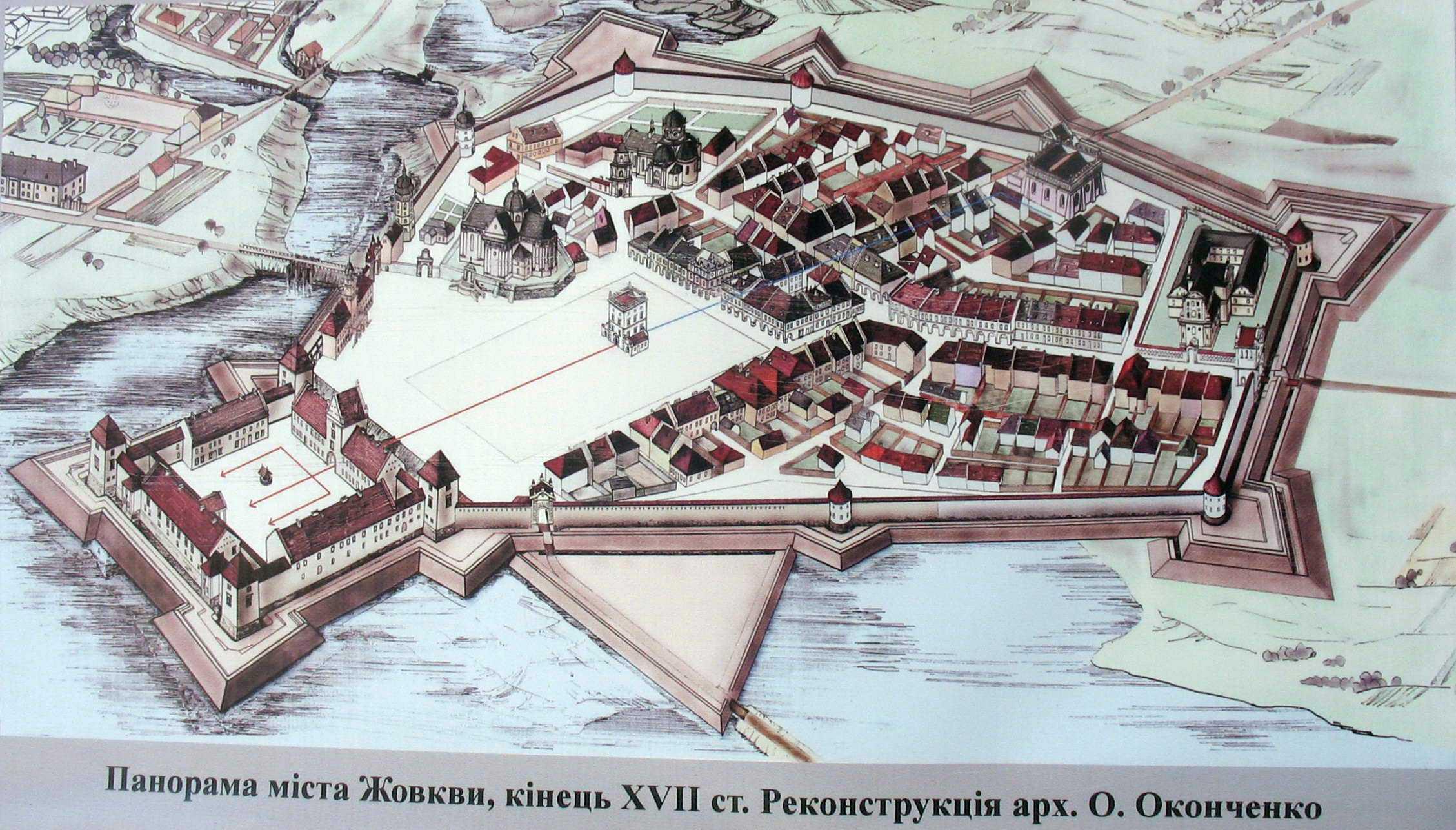 Кін. 17 ст. Ведута міста Жовкви