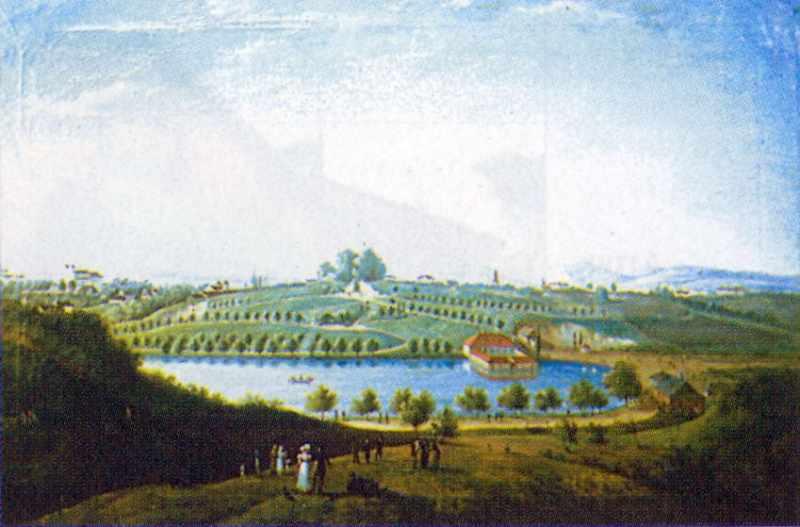 1822 р. Вид на Пелчинський став і гору…