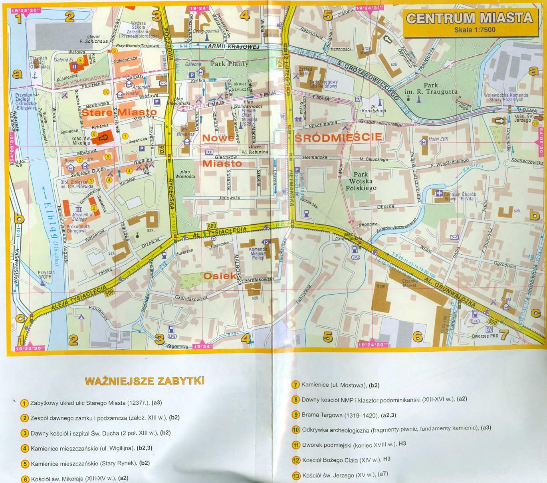 Мапа центральної частини Ельблонга
