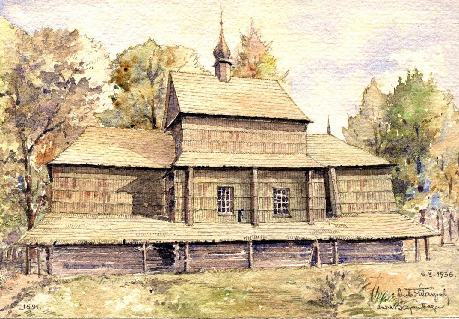 Рисунок Антона Вариводи (Краків), 6.05.1936 р. picasaweb.google.com 1691 Church, Volynyliv (Wojnilow), Kalush, Ukraine. Southwestern view.