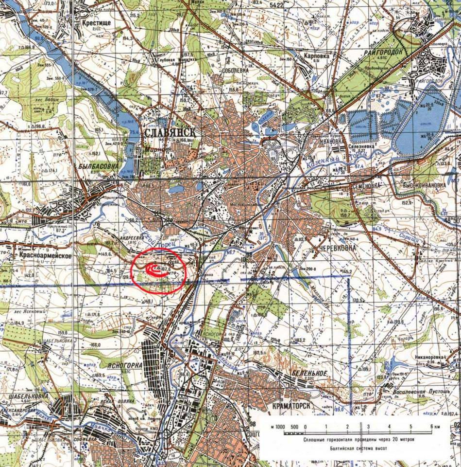 Карта околиць Слов'янська