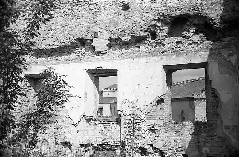 1978 р. Фрагмент північної стіни палацу з видом на північну башту. Вигляд з півдня