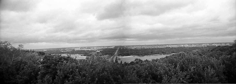 1980 р. Панорама лівого берега з мостом метро