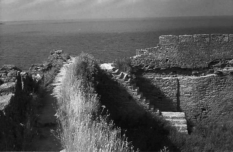 1984 р. Західна ділянка середнього муру та фрагмент північного муру на тлі лиману. Вигляд зі…