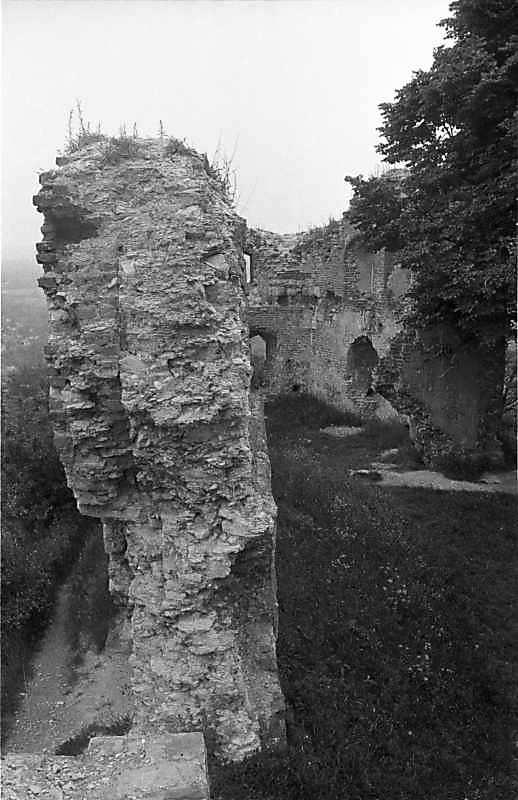 1988 р. Фрагменти чільного муру і башта. Вигляд зі сходу
