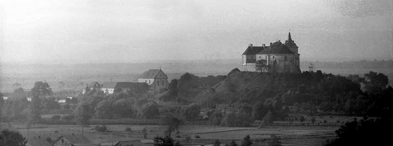 1988 р. Панорама кляштора і замку з півдня