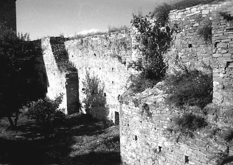 1991 р. Фрагмент схілного муру між північною баштою і каплицею. Вигляд з південного заходу