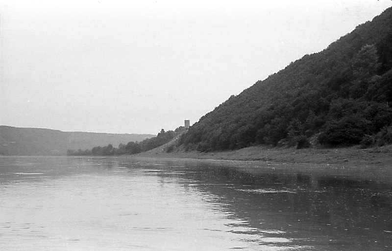 1992 р. Вид Дністра і замку. Вигляд з півдня