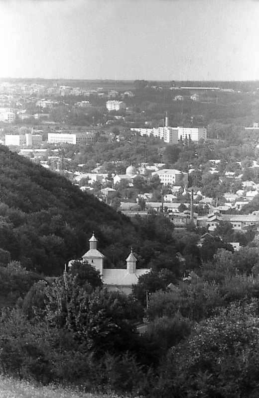 1996 р. Загальний вигляд с.Звенячин (з церквою) та м.Заліщики