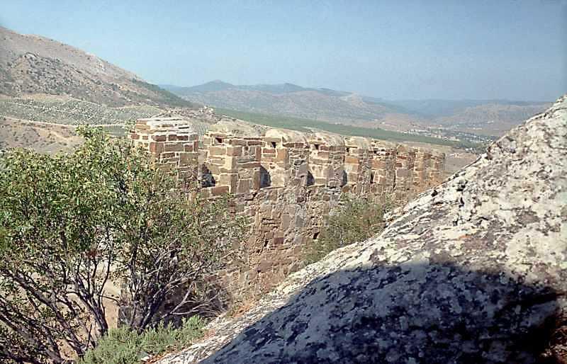 2001 р. Фрагмент муру на захід від башти № 2. Вигляд з південного заходу
