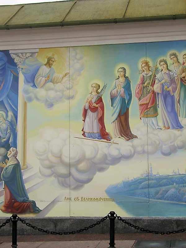Похід святих дів. Ліва частина
