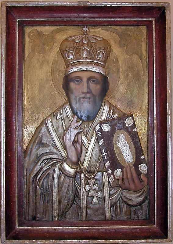 Св.Микола. 19 ст. Дерево, олія, різьблення, позолота