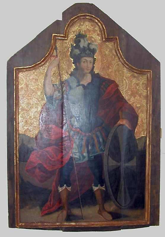 Св.Георгій. 18 ст. Дерево, олія, різьблення по левкасу, позолота