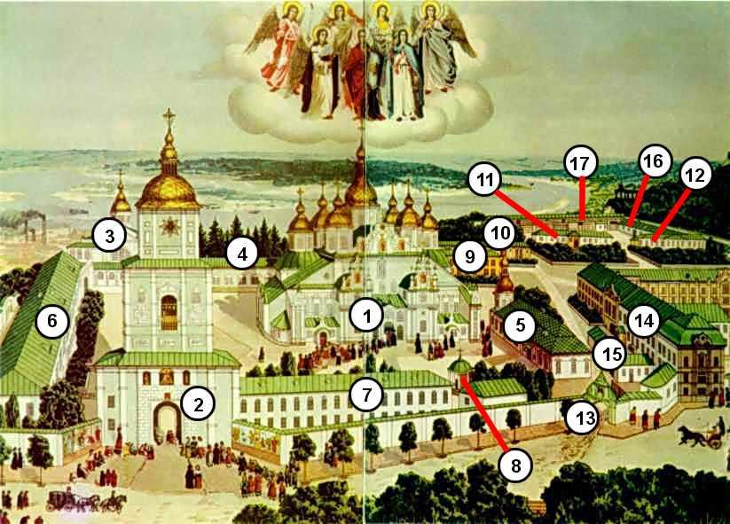 1 – Михайлівський собор 2 – дзвіниця 3 – церква св.Миколи 4 – архієрейський дім 5 – трапезна церква св.Іоана Богослова 6 – корпус старшої…